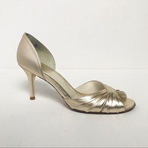Stuart Weitzman Gold Evening Open Toe Heels